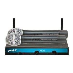 Gemini UHF-216M Dual Channel WIreless Handhel Microphone System; (682-698 MHz)
